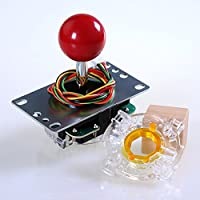 Easyget® Original SANWA JLF-TP-8YT Joystick + Original SANWA GT-Y Octagonal Restrictor Gate Kit for Arcade (One Way Kit)
