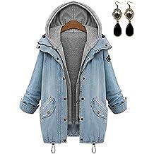 Sitengle Mujeres Denim Abrigo con Capucha Chaquetas de Mezclilla Capa Chamarra Doble para Otoño Invierno Coat Jacket