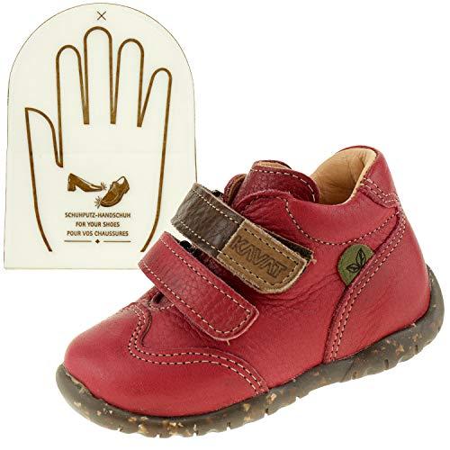 Kavat Kinderschuhe Lämmel 905090 Rot Lauflernschuhe Klettverschluss + Schuhputz Handschuh (21 EU)