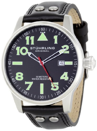 stuhrling-original-eagle-mens-quartz-watch-with-black-dial-analogue-display-and-black-leather-strap-