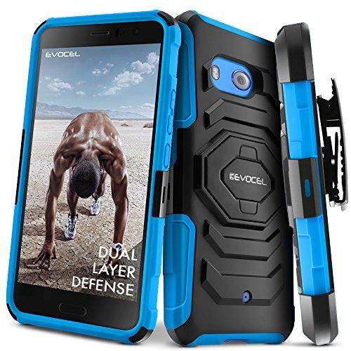 HTC U11Fall, evocel [New Generation] Rugged Holster Dual Layer Case [Ständer] [drehbarem Gürtelclip] für HTC U11(Nicht HTC U11Leben Passen), Blau (Case-swivel Belt Clip)