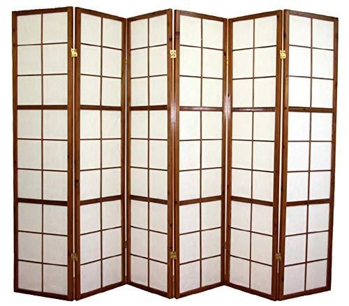 PEGANE Biombo japonés de madera Shoji color castaño oscuro de 6 paneles