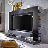 TT05 Meuble TV mural avec éclairage LED contemporain gris mat et noir brillant - L 164 cm