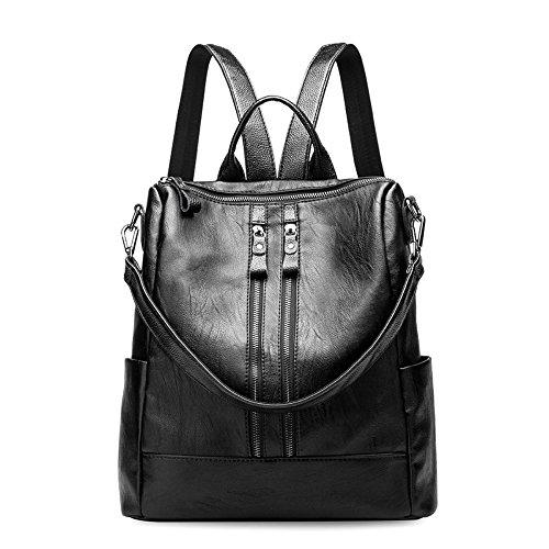 Zaino donna in pelle - daypack scuola casual 3 in 1 come zaino, tracolla e borsa a mano, backpack cuoio vintage leggeri di grande capacità e moda per lavoro, college e viaggi - nero