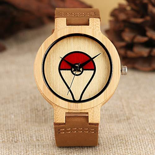 umweltfreundlich Quarz-Uhr für Männer, Casual natürliche Bambus-Uhren für Frauen, Kreative Bambus-Deformation Pokemon-Muster Bambus Armbanduhr für Jungen ()