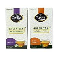 Jasmin & DESI KAHWA Green Tea Pack of 2 Blends of DARJEELING & Assam Green Tea Naturally Healthy Tea Leaves with NO Added PRESEVATIVES NO Artificial Flavour