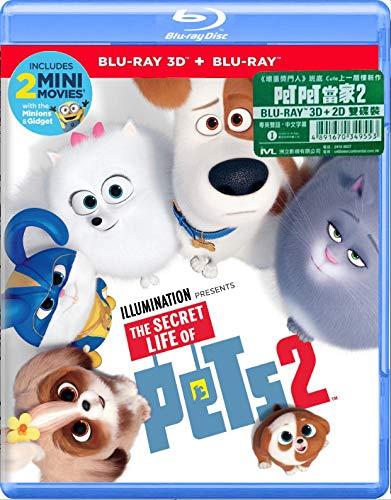 The Secret Life of Pets 2 (2D + 3D Version Region Free Blu-Ray) (Hong Kong Version/Englisch) Haustierbett, Mandarine und Kantonesisches Design, 2 Stück
