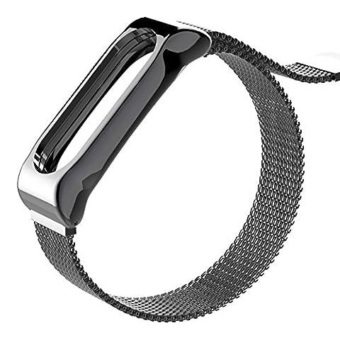 COOSA Bracelet de Montre en Métal Acier Inoxydable Massif Véritable Bracelet de remplacement avec cadre en métal pour Xiaomi Mi Band 2 Smart Watch (sans Tracker)