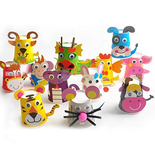Cup Craft Kit (Artibetter Kleinkind Papier Handwerk Kunst Kit - DIY Handmade Paper Cups 12pcs Vorschule Handwerk für Kinder Jungen Mädchen)