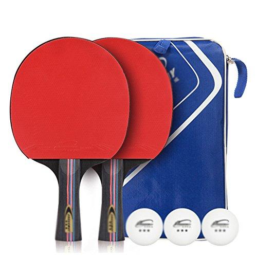X&M Ping Pong Paddel - 2 Pro Premium-Tischtennis-schläger,Schläger und 3 tischtennisbälle,Beste Profi tischtennisschläger mit hochleistungs-Kautschuk,Racket Geschenk Bag-A
