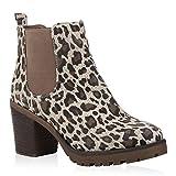 Stiefelparadies Damen Stiefeletten Chelsea Boots Wildleder-Optik Schuhe High Heel Plateau Booties Prints Profilsohle 125272 Leopard 38 Flandell