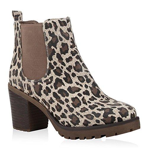 Stiefelparadies Damen Stiefeletten Wildleder-Optik Glitzer Chelsea Boots Animal Prints Profilsohle Knöchelhohe Stiefel Schuhe 125272 Leopard 36 | Flandell (Print Stiefel Leopard)