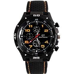 OrrOrr Men's Fashion Orange Stainless Steel Luxury Sport Analog Quartz Wrist Watch