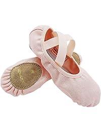 S.lemon Elástico Lona Zapatillas de Ballet Zapatos de Baile para Niños Niñas Mujeres Hombres