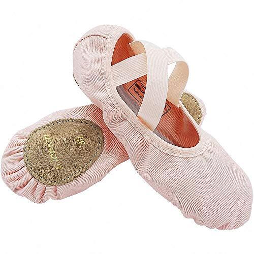 S.lemon Elástico Lona Zapatillas de Ballet Zapatos de Baile para Niños Niñas Mujeres Hombres Rosa...