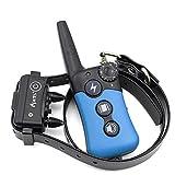 CHANG 330 Meter Remote Vibra Trainer Advance,Wasserdicht Hunde Training Halsband,Wiederaufladbar Erziehungsband mit Ton und Vibration,Blau