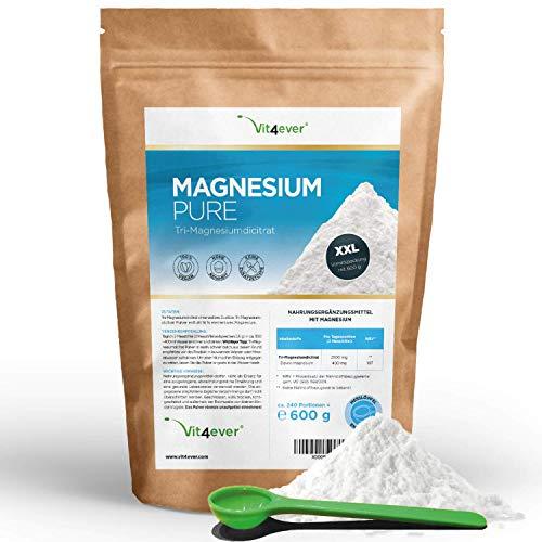 Vit4ever® Magnesium Pure - 600 g Pulver - 100{f260952bfce796f5b366cbe27d23c4e8d3f301c5fbc3e160af372333329b6978} Tri-Magnesiumdicitrat - Laborgeprüft - reines Pulver ohne Zusätze - Vegan - Hohe Bioverfügbarkeit - Premium Qualität