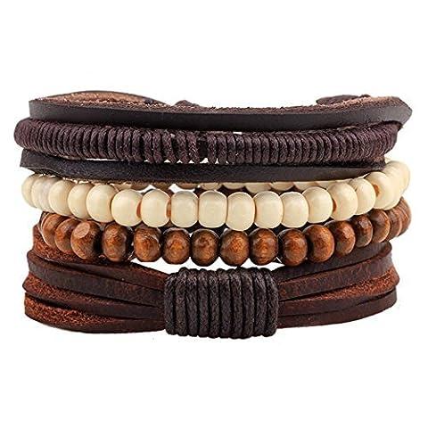 Winter Secret de 4Suit Bois Perles réglable tibétain Marron Bracelet cuir tressé à la main