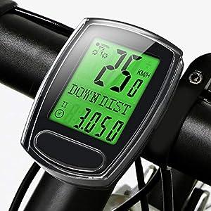 51egaHqrJfL. SS300  - IPSXP Fahrradcomputer, Kabelgebundener Fahrrad Tacho Kilometerzähler Geschwindigkeitsmesser Wasserdicht Radcomputer Tachometer mit LCD Display, Automatischer Schlaf/Wachzustand, Batterie Enthalten