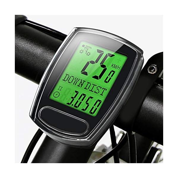 IPSXP Fahrradcomputer, Kabelgebundener Fahrrad Tacho Kilometerzähler Geschwindigkeitsmesser Wasserdicht Radcomputer Tachometer mit LCD Display, Automatischer Schlaf/Wachzustand, Batterie Enthalten