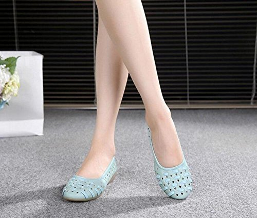 Femmes Slip On Cuir Souple Solide Plat Chaussures Plates Anti-slip Trou Cheville Sandales Ronde Basse Bouche Chaussures Grande Taille Bleu Jours