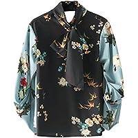 Señoras de moda Casual Cuello Camisa Casual camisa vestido estampado de flores de invierno,Foto color,S