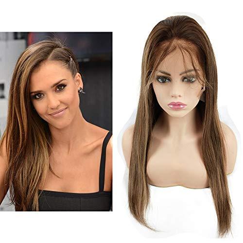 Mila Echthaar Perücke Blond Ombre Highlight Glueless Human Hair Lace Front Wig Glatt 130% Dichte met Baby Hair 20inch/50cm