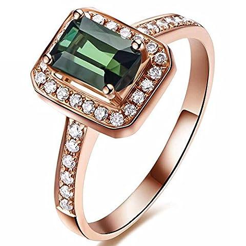 Kardy - 14 Karat Rotgold Brilliant Rund Emerald(5X7mm) grün Tourmaline Diamant