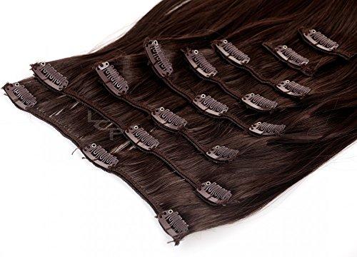 Clip In Extensions Haarverlängerung XXL Haarteile Set glattes Haar in 60 cm Laenge #4 schokobraun