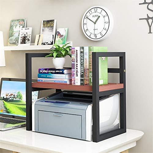Cvbndfe-HOME Kinder-Tischregal Desktop Kleines Bücherregal Office Rack-Drucker-Lagerregal Einfach (Farbe : Teak Black Frame, Größe : 20 * 40 * 20cm) -