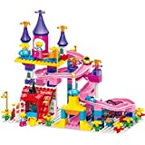 Wise Guys Girls Brick Toy Palace With Slide And Car Blocks Educational Toys For Kids Construction Building Blocks 162 Pieces - Multi Color