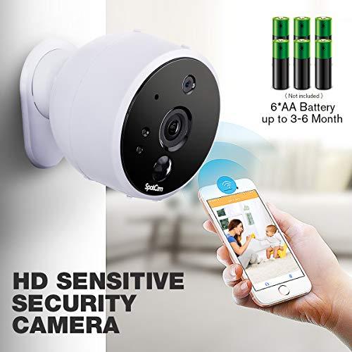 SpotCam Solo WLAN Video Überwachungskamera I Batteriebetrieben I Indoor & Outdoor I Alexa & Google Home Kompatibel I Weiß