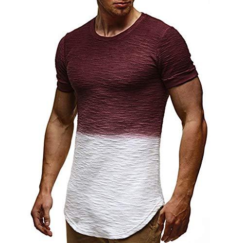 (POPLY Herren Farbverlauf Streifen Muster Lässige Mode Streifen Revers Kurzarm Hemd Oberteile Sweatshirt)