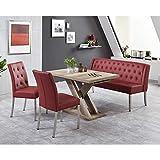 Pharao24 Esszimmer Sitzgruppe in Rot und Wildeiche ausziehbarem Tisch und Bank