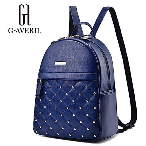 (G-AVERIL) Rucksack Damen GAVERIL Schulrucksack Mädchen Leder Rucksack Schule Freizeitrucksack Schultasche Daypack Dunkel Blau Dunkel Blau