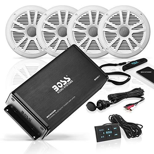 Boss Audio ASK904B.64 500 4-Kanal Bluetooth Verstärker MC900B und Zwei Paar 180 Watt MR6W Marine-Lautsprecher im Set Boss Audio Boss Marine
