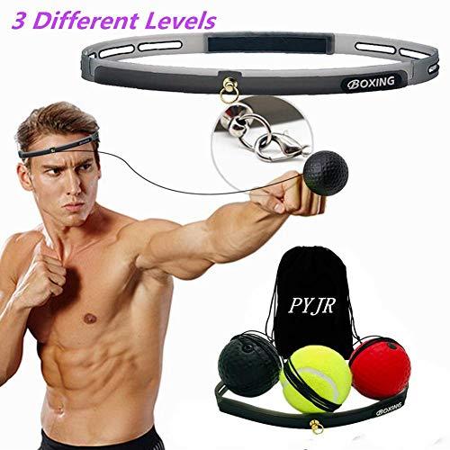 Boxaball, Reflex ball boxe, attrezzatura da boxe, per migliorare le reazioni di velocità e la coordinazione occhio mano, ottima per allenamento e fitness, Fascia in Silicone Regolabile,3 palle.