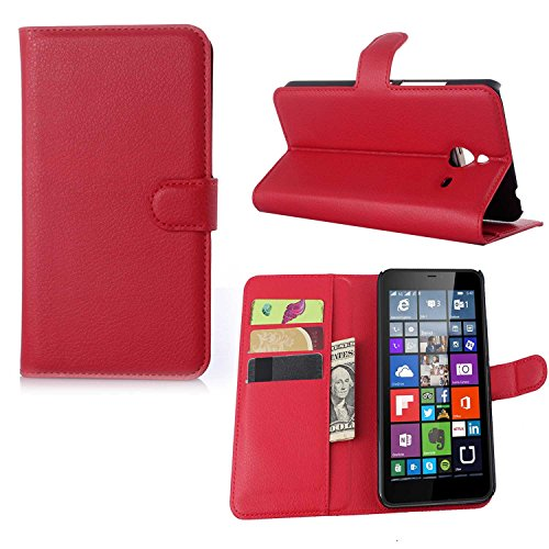 Guran® Ledertasche Tasche für Microsoft Lumia 640 XL Dual-SIM Smartphone Flip Cover Standing Funktion und Kartensteckplatz Case