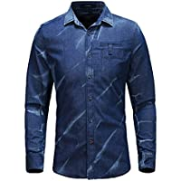 icegrey Uomo Casual Manica lunga Button Down Denim Camicie