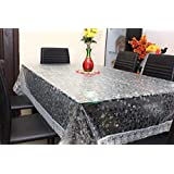 DAZE PVC Stone Embossed 4-6 Seater Dining Table Cover with Silver Lace / 54x78 - Transparent