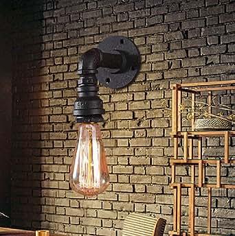 ZQ@QX Parete decorativa tradizionale semplice hotel café ristorante lampada da parete Lampada da parete di ferro retrò singolo tubo sterzo