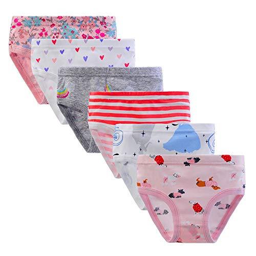 Anntry Kinder 6er Pack Slips Weiche Bequeme Unterhosen Unterwäsche Kleine Mädchen 100% Baumwollhöschen 1-7 Jahre (Farben-3, 1-3 Jahre) - 2t Mädchen Kleinkind Unterwäsche