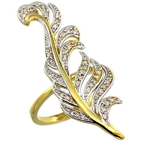 14ct Gelb Gold Palm Leaf Ring mit Diamant Akzente 0,23Karat Gesamtgewicht, 13/20,3cm breit, Größe T (Leaf Gold Akzente)