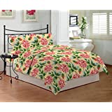 Bombay Dyeing Mistyrose 120 TC Polycotton Double Bedsheet with 2 Pillow Covers - Red