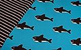 0,5m Jersey Orka Wal petrol & 0,5m Ringel-Jersey schwarz-grau Muster-Mix 95% Baumwolle 5% Elastan Stoffbreite 1,4m (insgesamt 1m x 1,4m)