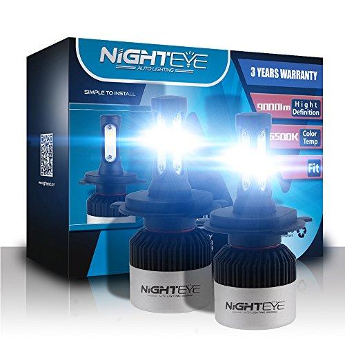 H4 de voiture LED Ampoules de phare, Nighteye 72W 9000LM 6500K Blanc froid IP68 étanche CSP Puce LED Automotive ampoules tout-en-un kit de conversion - 3 ans de garantie (lot de 2)