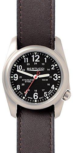 Bertucci 11067unisex in acciaio INOX in pelle marrone fascia quadrante nero orologio intelligente