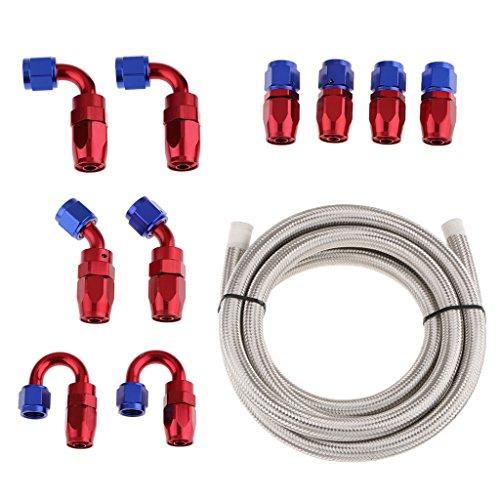 IPOTCH AN10 Auto Kraftstoffleitung Schlauch Geflechtschlauch und Schlauchanschlüsse Adapter - Weiß