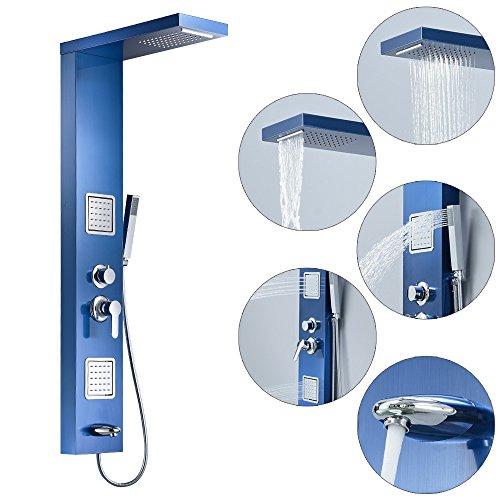 Duschpaneel Duschsäule Edelstahl Regendusche Massagedüsen Wasserfall 4 Farben Sanlingo, Farbe:Blau