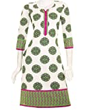 White 'N Green Kurta With Contrast Pipin...